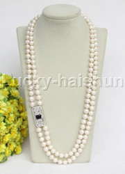 "natural 2row 27"" 10mm round white freshwater pearls necklace j11799"