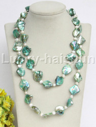 "length 40"" Baroque white freshwater pearls green shell necklace j11815"