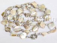 """length 40"""" Baroque gray freshwater pearls white shell necklace j11816"""