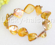 "springy 8"" Baroque yellow shell bracelet j11819"