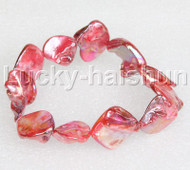 "springy 8"" Baroque red shell bracelet j11823"
