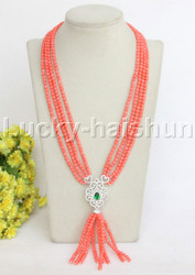 "Genuine 4Row 21""-24"" round pink coral necklace pendant j11828"