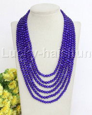 """18-23"""""""" 6mm 6row navy blue Opal cat eyes beads necklace magnet clasp j11830"""