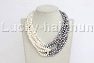 "17"" 8mm 6row Baroque white gray pearls necklace pearl clasp j11831"