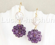 17mm Amethyst ball 10mm white coin pearls Dangle earrings 14K hook j11844