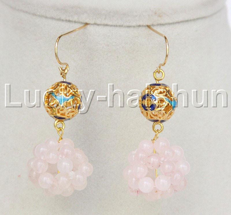 Genuine White Pearl /& White Cloisonne Dangle Hook Earrings 14K Gold Filled