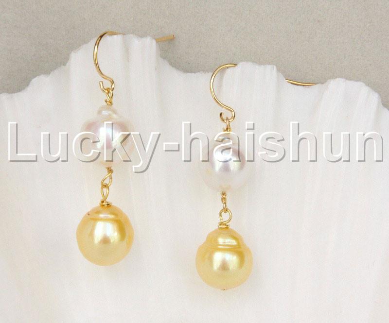 BEAUTIFUL Huge  GOLDEN South Sea Shell Pearl earring   10mm
