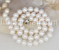 "natural 17"" 10mm round white freshwater pearls necklace 18KGP j11849"
