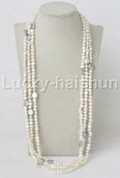 """length 94"""" Baroque white gray freshwater pearls necklace j11860"""