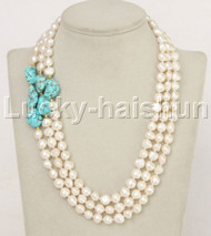 "natural 18"" 3row Baroque white pearls turquoise necklace 14K/20 clasp j11868"