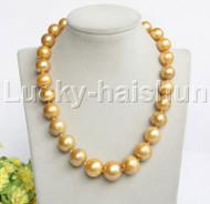 "Genuine 18"" 18mm round yellow golden pearls necklace j11925"