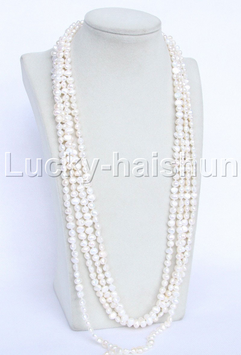"""length 120/"""" Baroque white freshwater pearls necklace j11950"""