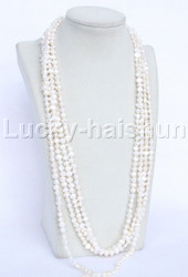 "length 120"" Baroque white freshwater pearls necklace j11950"