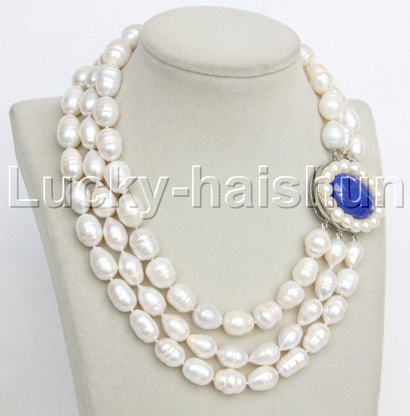 """natural 3row 18/"""" Baroque white freshwater pearls lapis lazuli necklace j11739"""