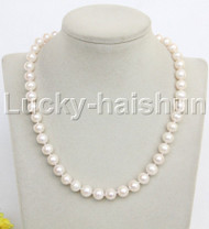 "natural 17"" 10mm round white freshwater pearl necklace j11968"