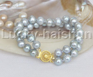 "natural 8"" 10mm round gray freshwater pearl bracelet j11971"