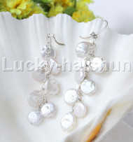 "dangle 3"" 11mm coin white fastener pearls earrings 925s silver hoop j11977"