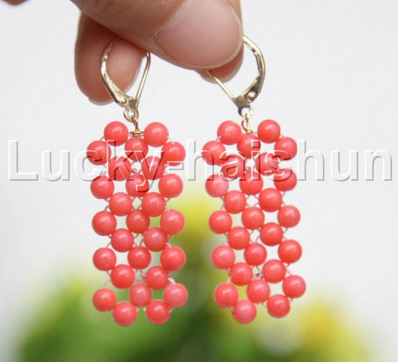 "Genuine handmade 17/"" round pink coral bead Choker necklace j11981"