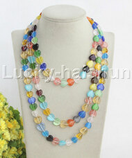 "length 48"" Baroque heart-shaped Multicolor opal crystal necklace j12037"