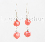 Dangle 10mm Baroque red pearls Earrings 925 silver hook j12048