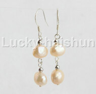 Dangle 10mm Baroque pink pearls Earrings 925 silver hook j12058
