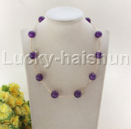 "NEW 18"" 12mm round purple jade beads necklace gold plated clasp j12076"