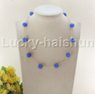 "NEW 18"" 12mm round blue jade beads necklace gold plated clasp j12077"