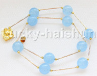 """NEW 18"""" 12mm round light blue jade necklace gold plated clasp j12084"""
