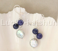 "Dangle 1.5"" 12mm coin fastener gray pearls lapis lazuli Earrings 925 silver hook j12088"