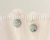 Dangle 12mm coin fastener green pearls Earrings 925 silver hook j12089