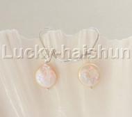 Dangle 12mm coin fastener pink pearls Earrings 925 silver hook j12095