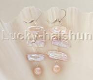 """Dangle 2.5"""" tooth BIWA pink purple pearls Earrings 925 silver hoop j12098"""