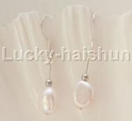"""Dangle 1.3"""" 10mm Baroque light pink FW pearls Earrings 925 silver hook j12109"""