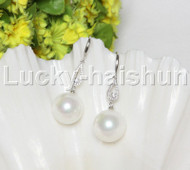 Dangle 16mm round white south sea shell pearls Earrings 925 silver hook j12143