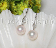 Dangle 16mm round pink south sea shell pearls Earrings 925 silver hook j12144