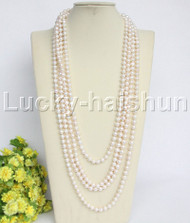 "length natural 130"" 8mm round white freshwater pearls necklace j12155"