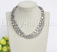 "Baroque 16"" 3row gray freshwater pearls necklace 18KGP clasp j12156"