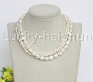 "Baroque 16"" 3row white freshwater pearls necklace 18KGP clasp j12163"