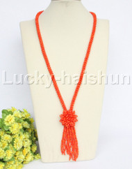 "length Genuine handmade 28"" round orange coral necklace j12171"