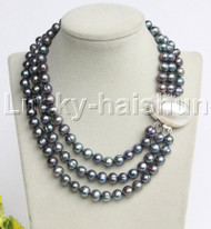 """natural 17"""" 3row 10mm round peacock Black pearls necklace blister clasp j12193"""