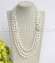 "natural 21"" 3row Baroque white pearls necklace pearl clasp j12194"