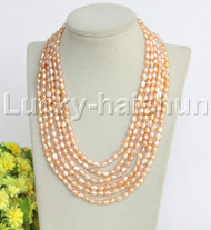 """j12242 Stunning 6row 17"""" natural Pink Baroque FW pearls Necklace"""