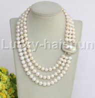 j12244 10mm 3rows natural white pearls Necklace mabe clasp