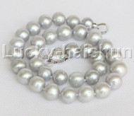 11mm-13.5mm gray freshwater pearls Necklace leopard clasp j12251