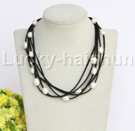 "5strands 16-18"" 10X12mm white freshwater pearls black leather necklace j12256"