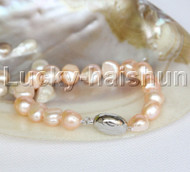 "12mm 8"" natural pink Baroque freshwater pearls bracelet j12263"