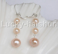 12mm 8mm natural Pink freshwater pearls dangle earrings 925sc hoop j12268