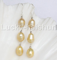 10X13mm yellow gold freshwater pearls dangle earrings 925 silver hoop j12269