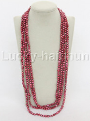 "length 120"" 8mm Baroque wine red freshwater pearls necklace j12273"