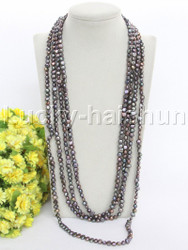 """length 120"""" 8mm Baroque black freshwater pearls necklace j12274"""